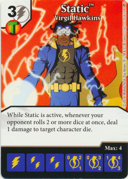 4 x STATIC VIRGIL HAWKINS 35 Green Arrow and The Flash Dice Masters
